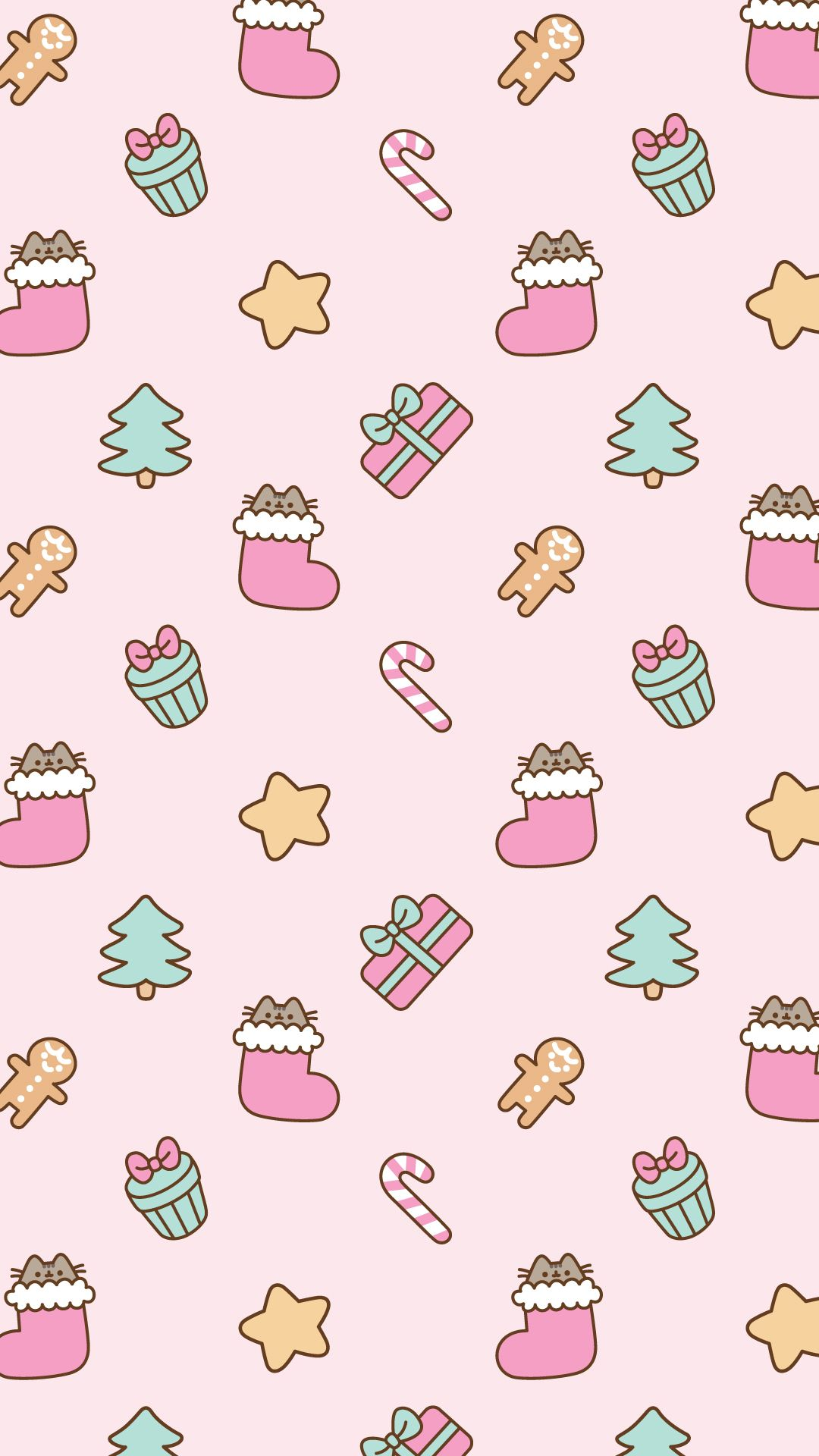 1080x1920 Free Christmas Pusheen Android and iPhone® Wallpapers - #ClairesBlog