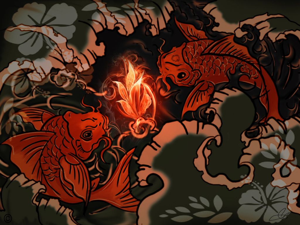 1024x768 Japanese Koi Art Wallpaper.Koi Fish In The Light By Shifer22 On ...