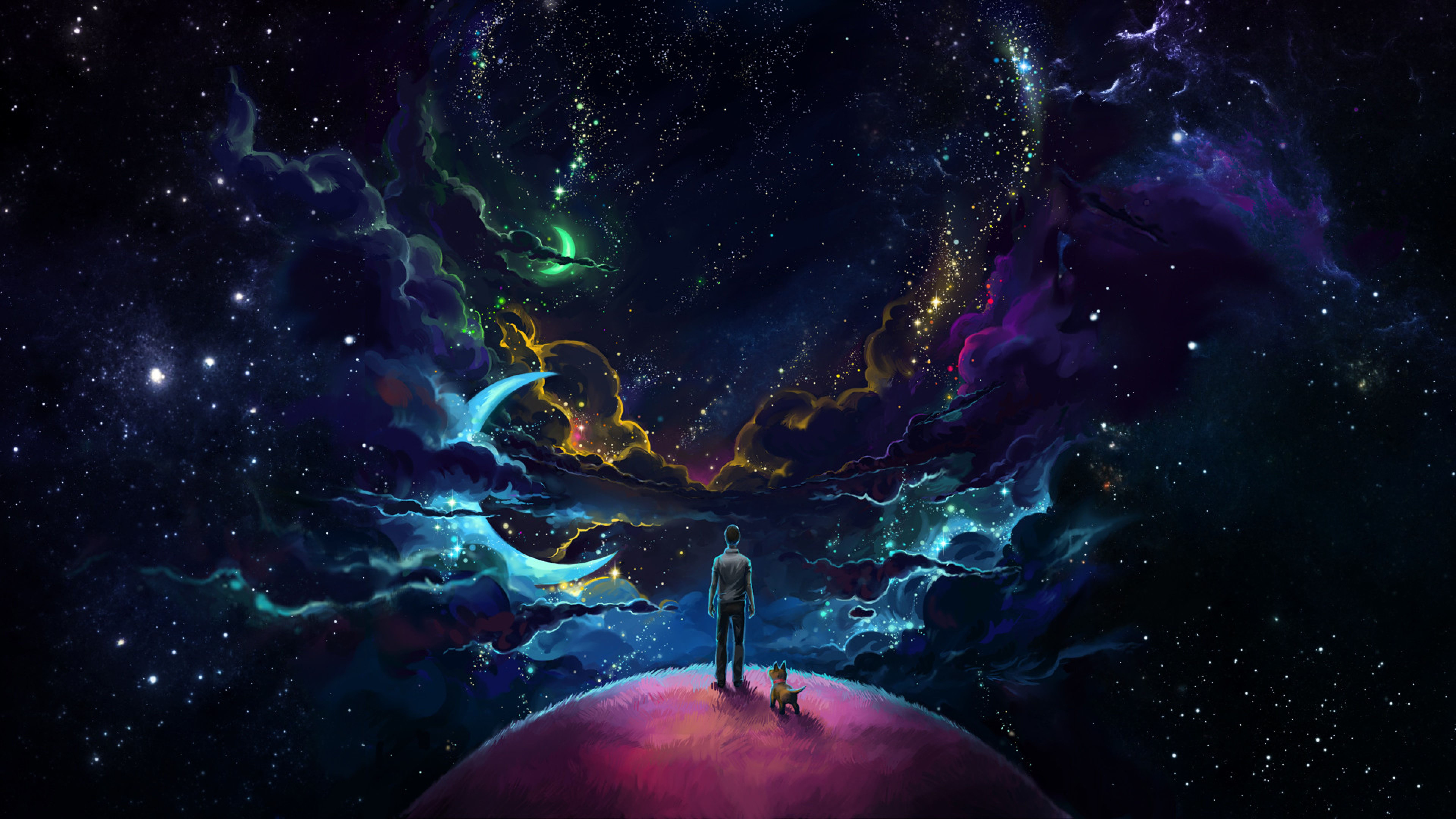 7680x4320 Download Man And Dog And Neon Space 7680x4320 Resolution, Full HD ...