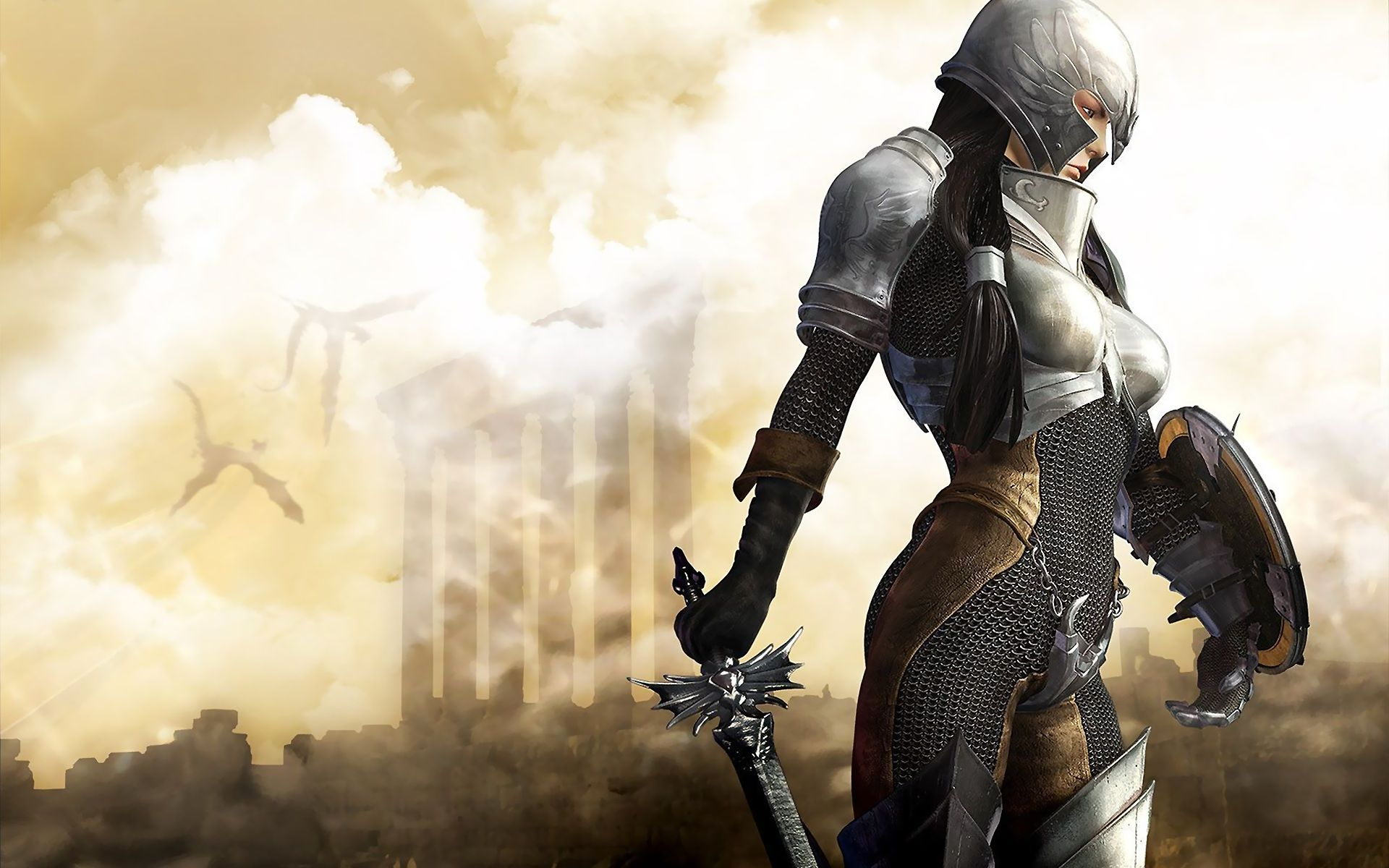 1920x1200 Download desktop wallpaper Girl knight in chain mail and armor