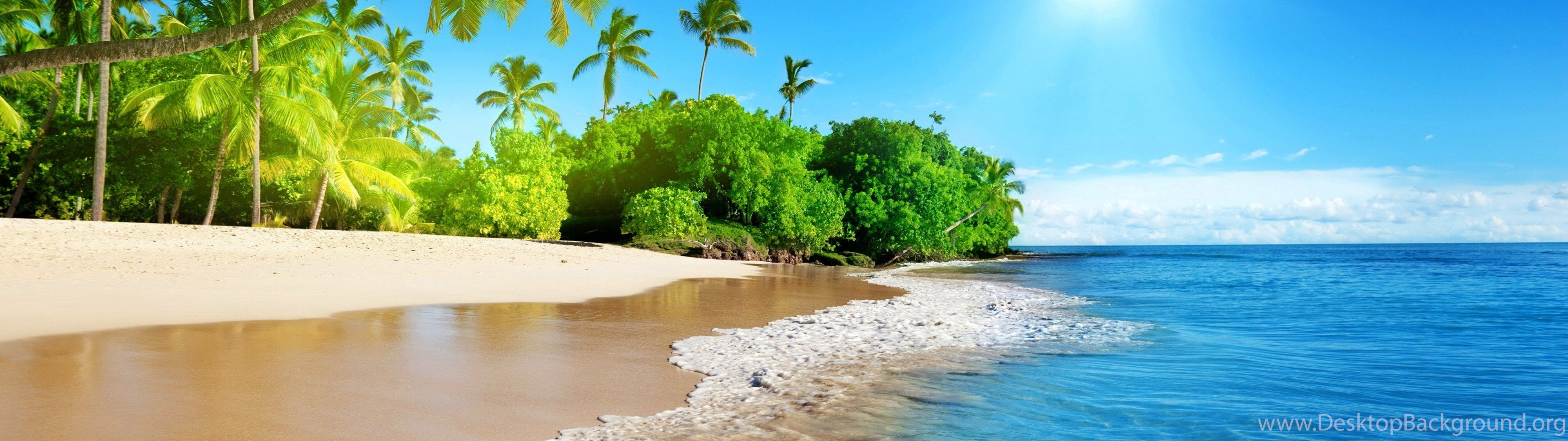 3840x1080 Panoramic Beach Wallpapers HD Resolution : Nature Wallpapers ...