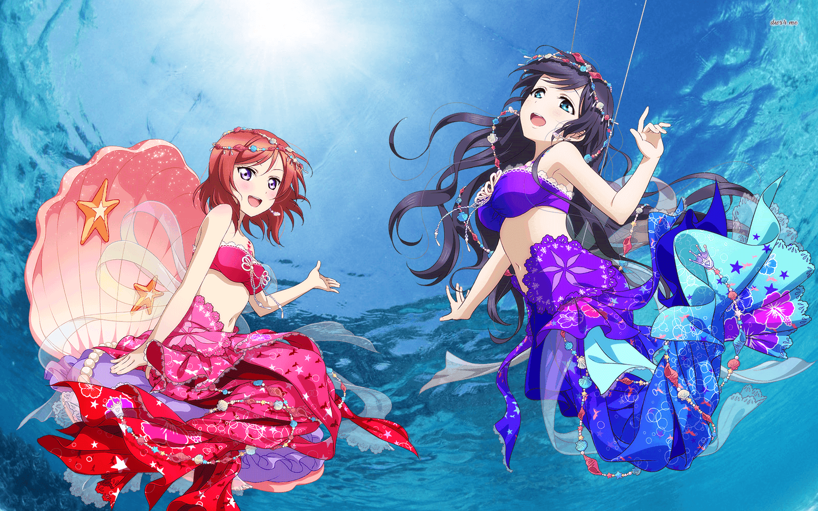 1600x1000 Mermaid Set: NozoMaki UR Idolized Wallpaper by nozoboobs on DeviantArt
