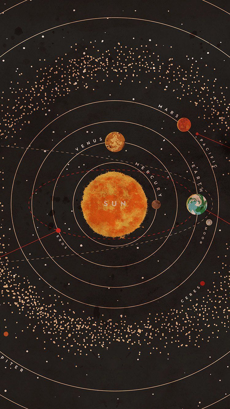 750x1334 SOLAR SYSTEM SPACE ART COVER RED WALLPAPER HD IPHONE ...