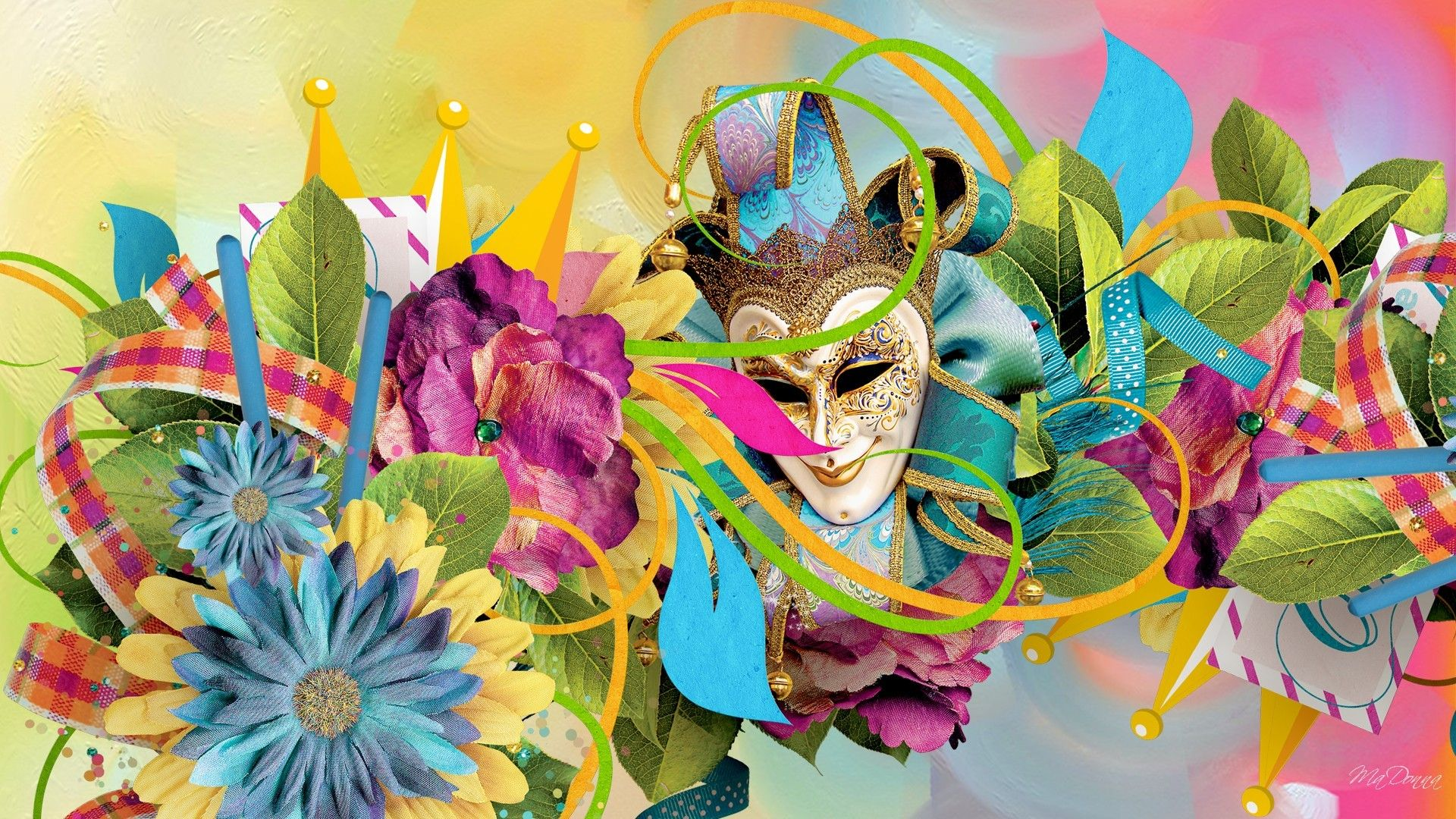 1920x1080 Flower: Carnival Colorful New Orleans Flowers Celebrate Brazil Lent ...