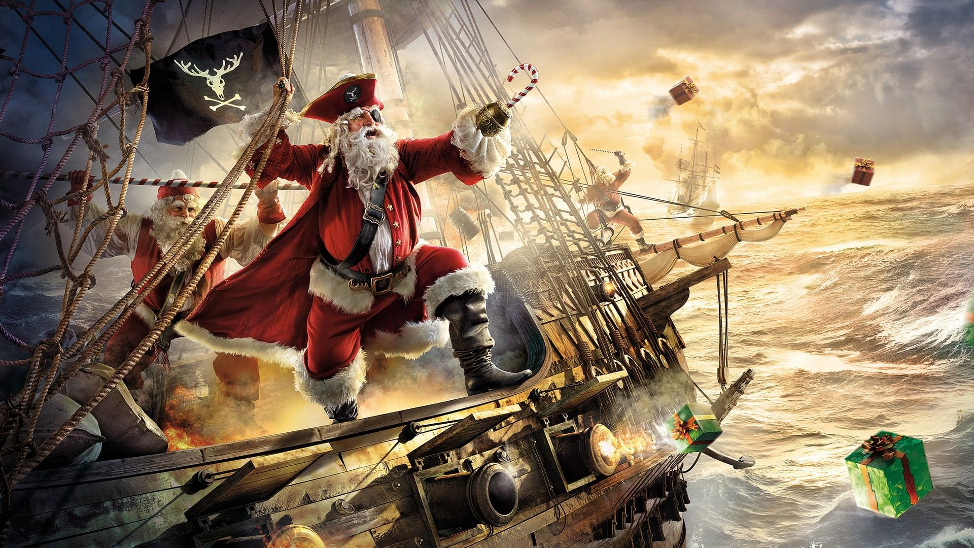 1920x1080 Epic Pirate Santa Clause Christmas Wallpaper | DigitalArt.io