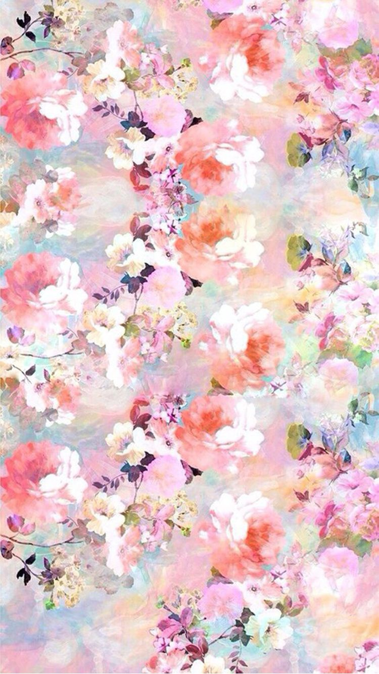 750x1334 Watercolor Flowers Painting iPhone 6 Wallpaper | Colorful ...