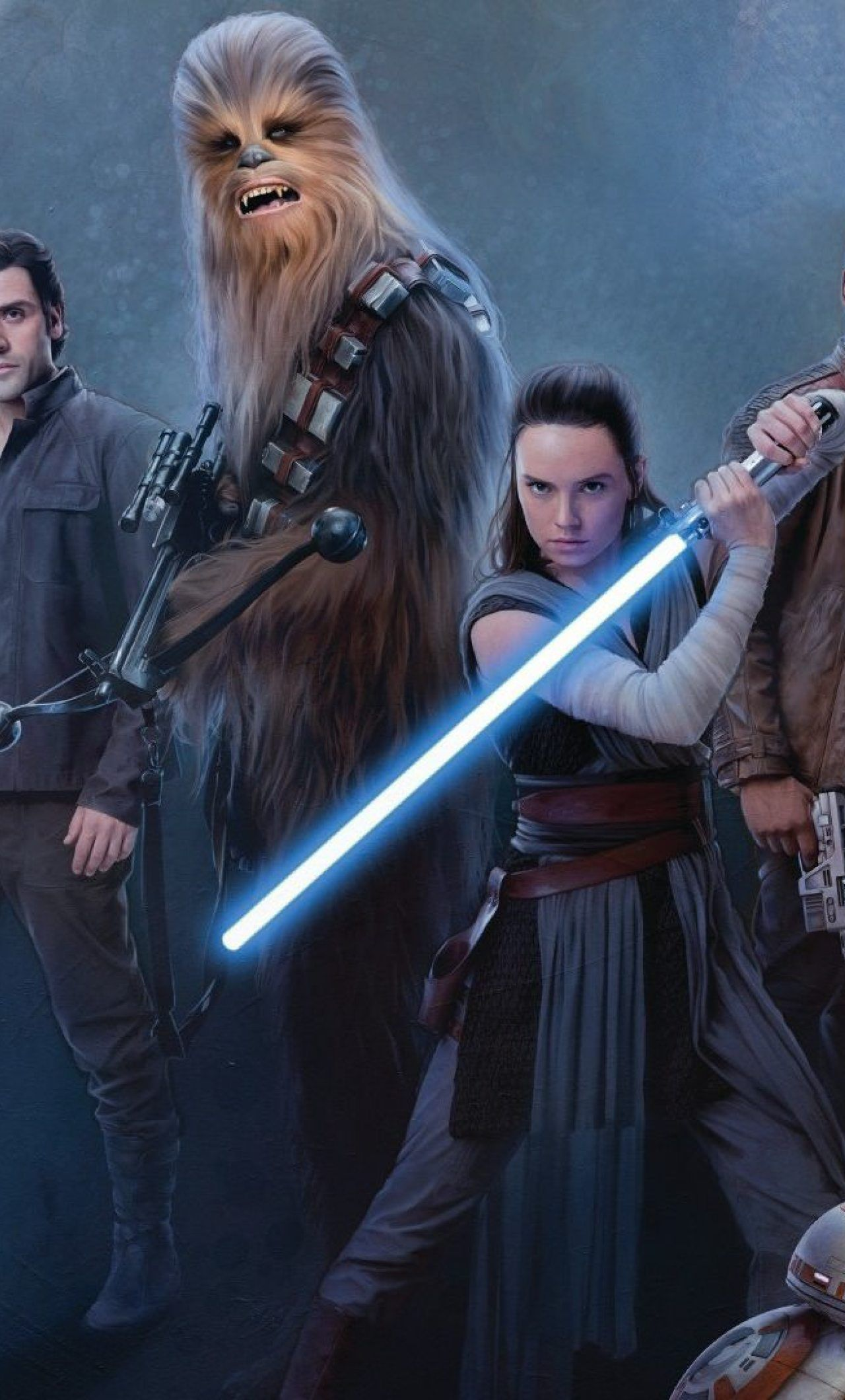 1280x2120 Download Star Wars Jedi Rey Daisy Ridley And Luke Skywalker ...