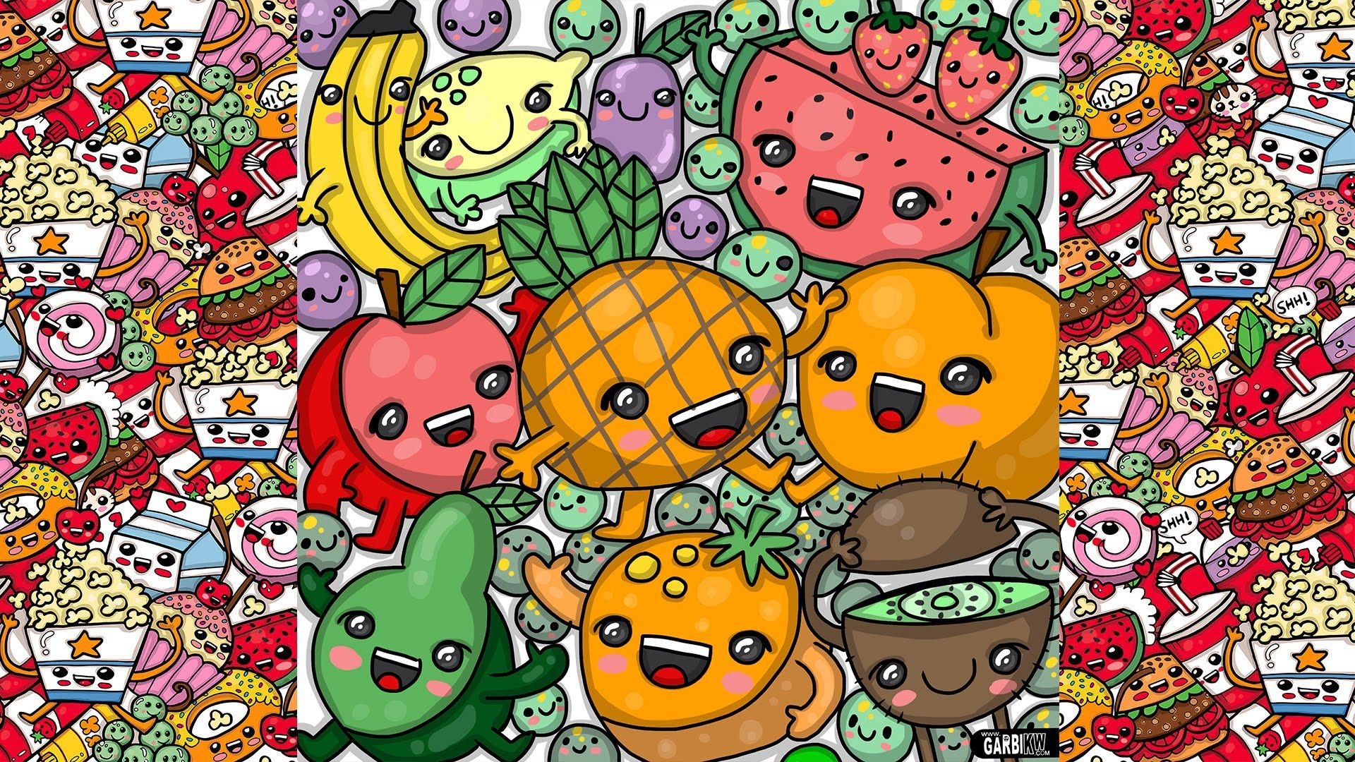 1920x1080 How To Draw Party Kawaii Fruits by Garbi KW - YouTube