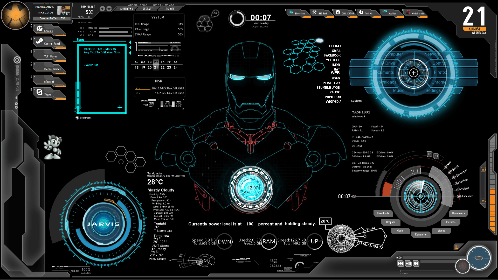1920x1080 Iron Man JARVIS Wallpapers