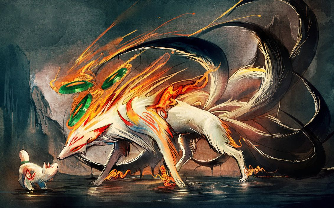 1131x707 Nine Tailed fox and Pup by sakimichan on DeviantArt