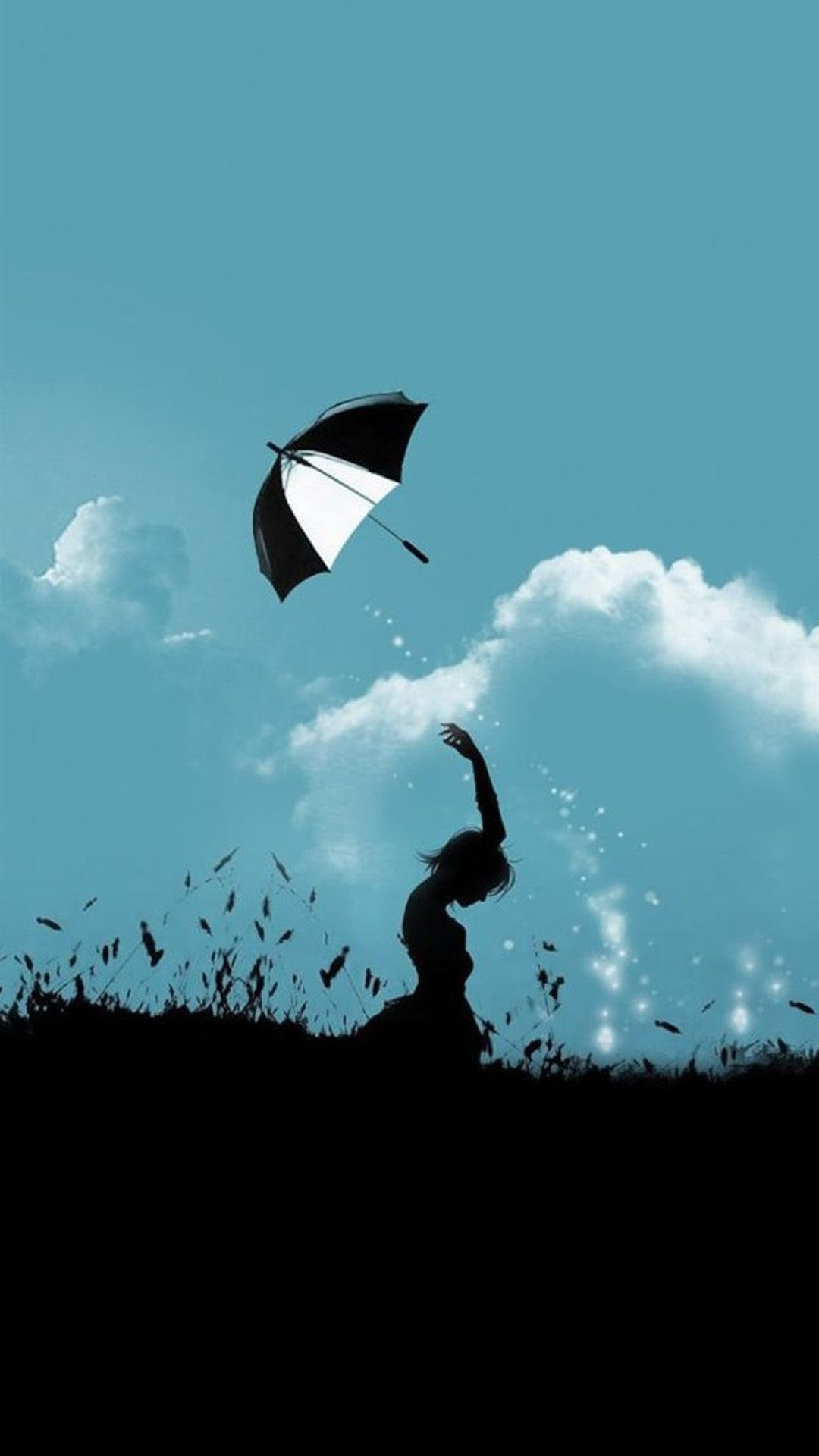 1080x1920 Hill Umbrella Throw At Cloudy Sky Aesthetic Art iPhone 8 Wallpaper ...