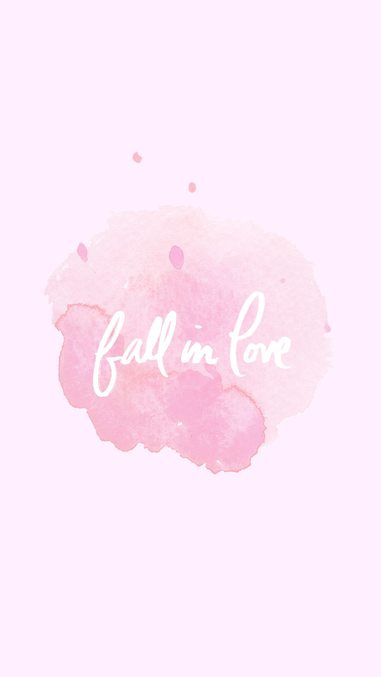 1242x2208 Fall in love pastel pink watercolour phone wallpaper | Phone ...