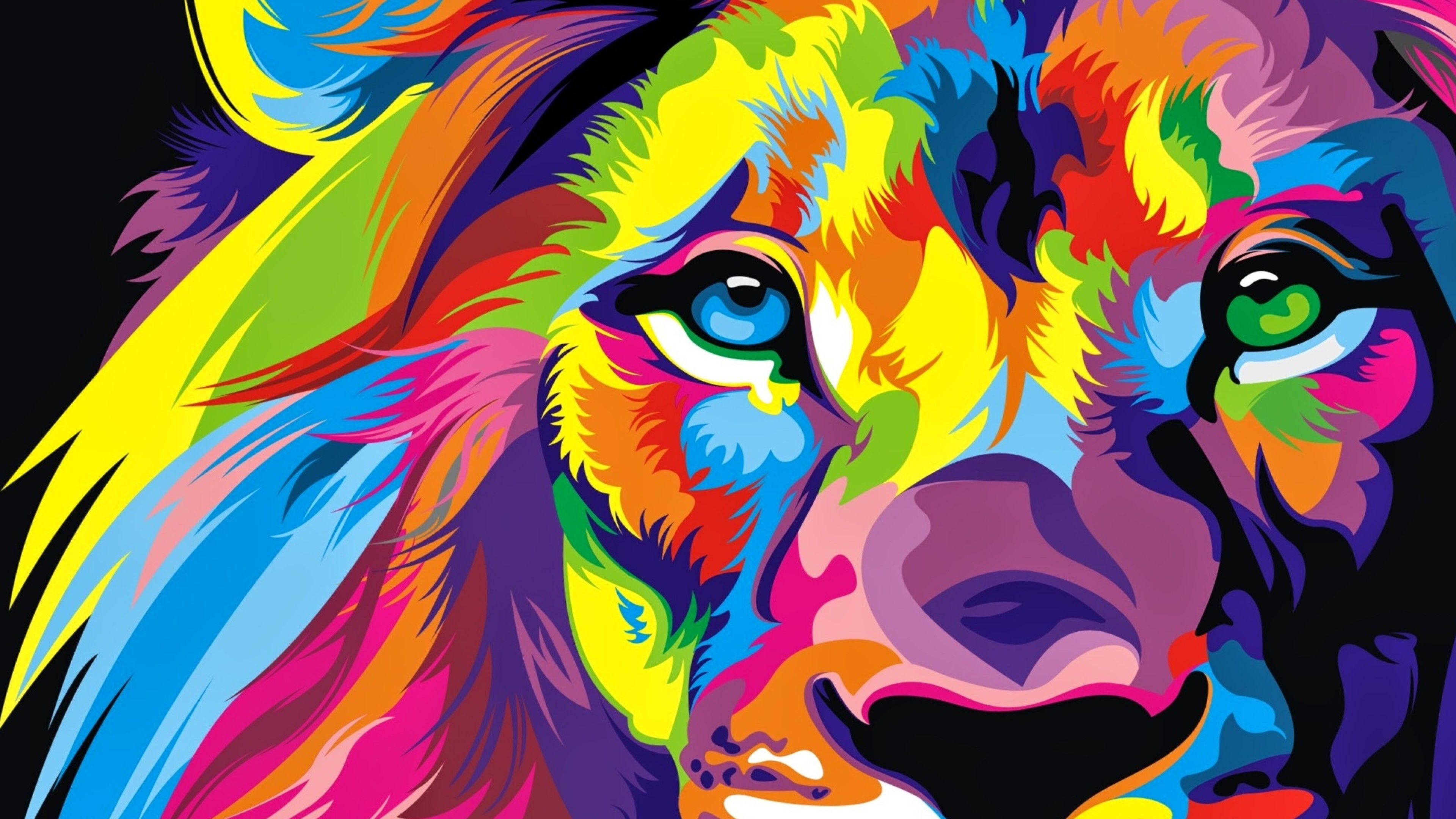 3840x2160 Download Full HD Colourful Lion Artwork Wallpaper 4K Ultra ...