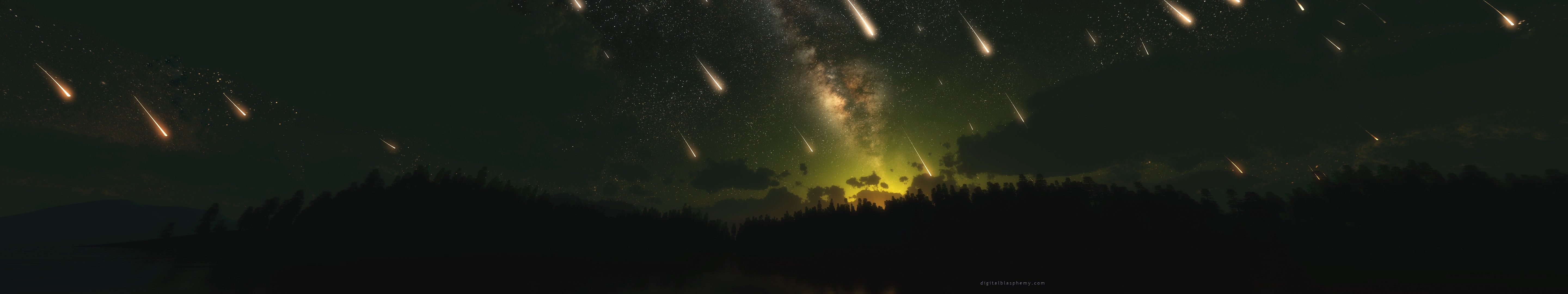5760x1080 multiple display, #meteors, #shooting stars, #stars, #sky, #space ...