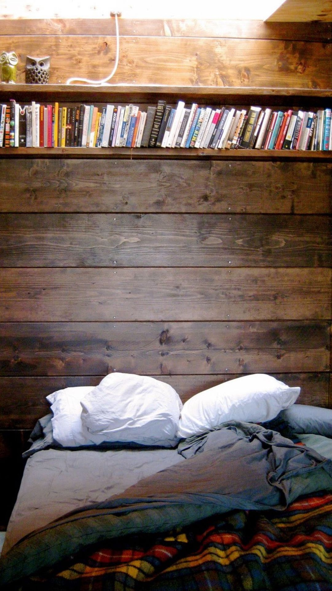 1080x1920 Bed Reading Spot Book Shelf iPhone 8 Wallpaper Download | iPhone ...