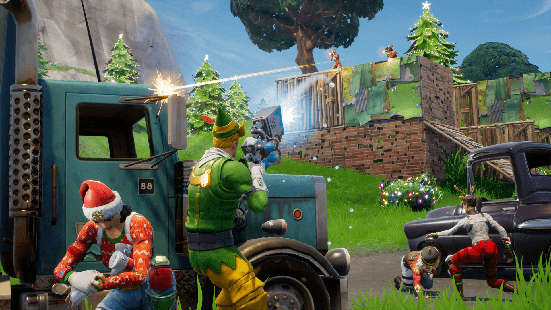 1920x1080 Fortnite Battle Royale gets a Battle Pass and holiday themed winter ...