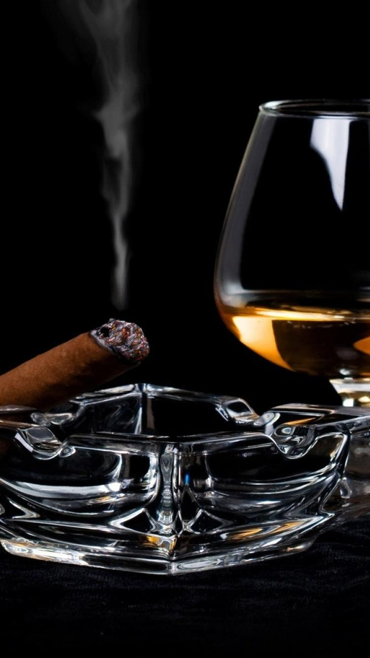 750x1334 Alcohol cigarettes cigars drinks glass wallpaper   (51681)