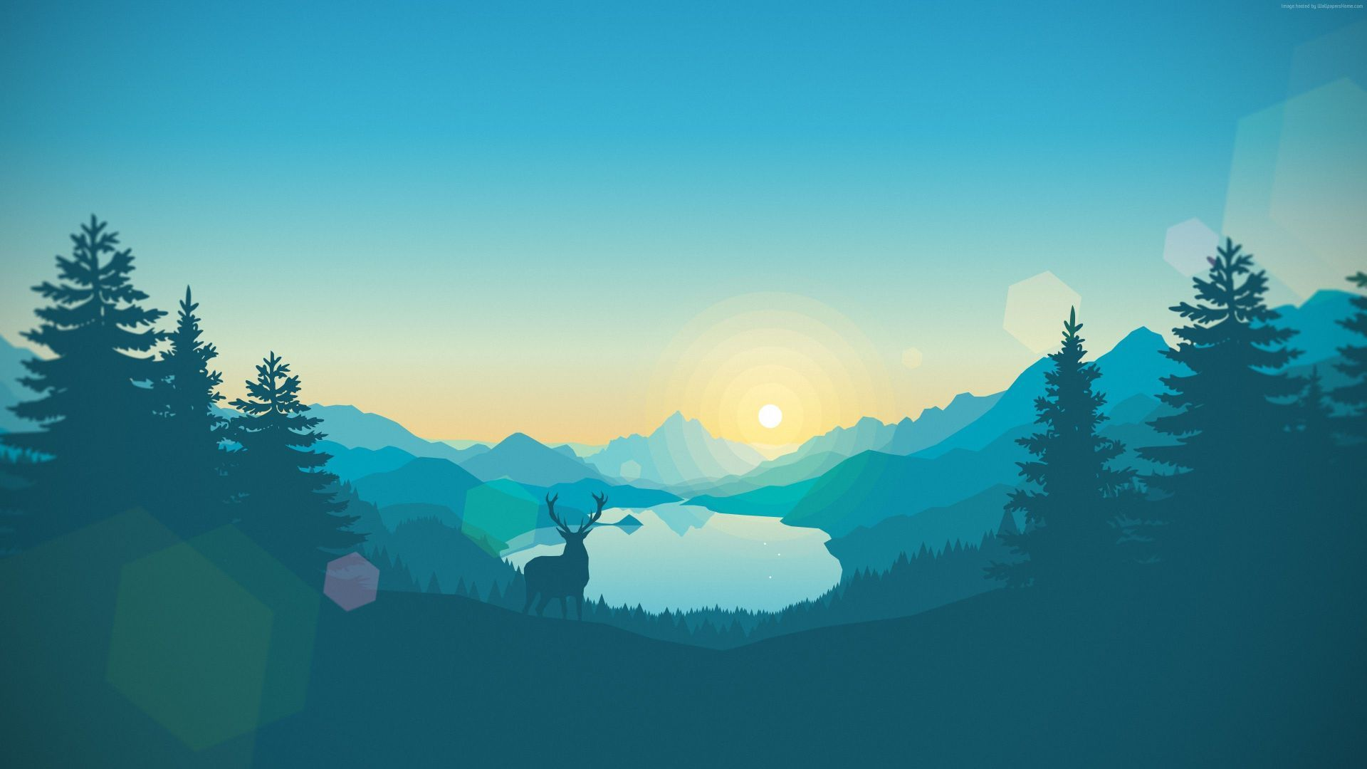 1920x1080 flat, forest, deer, 4k, 5k, iphone wallpaper, abstract ...
