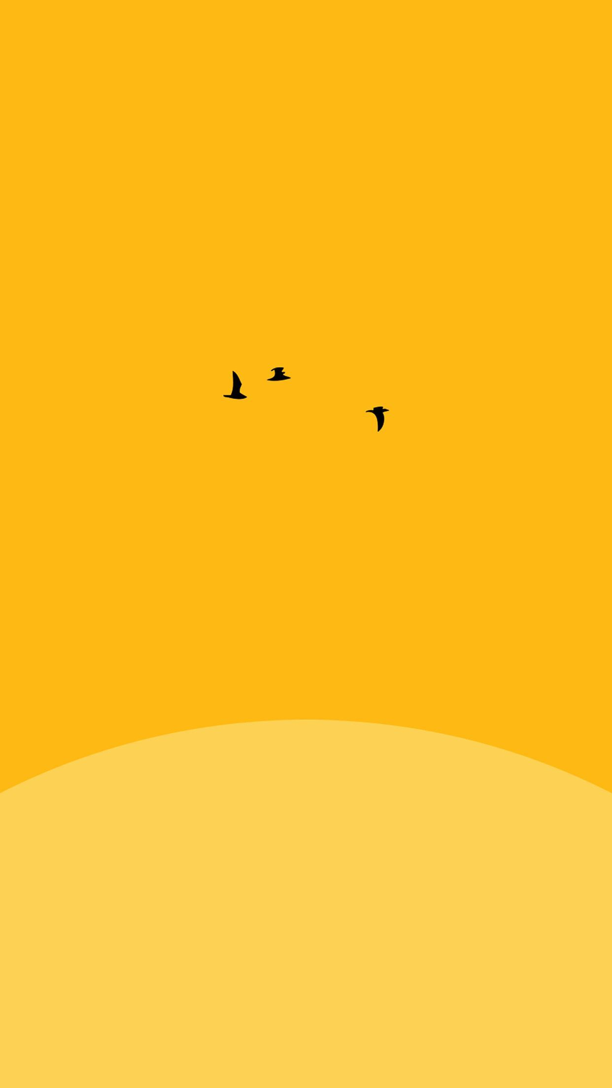 1242x2208 awesome sunset-yellow-bird-minimal-iphone6-plus-wallpaper | Mobile ...