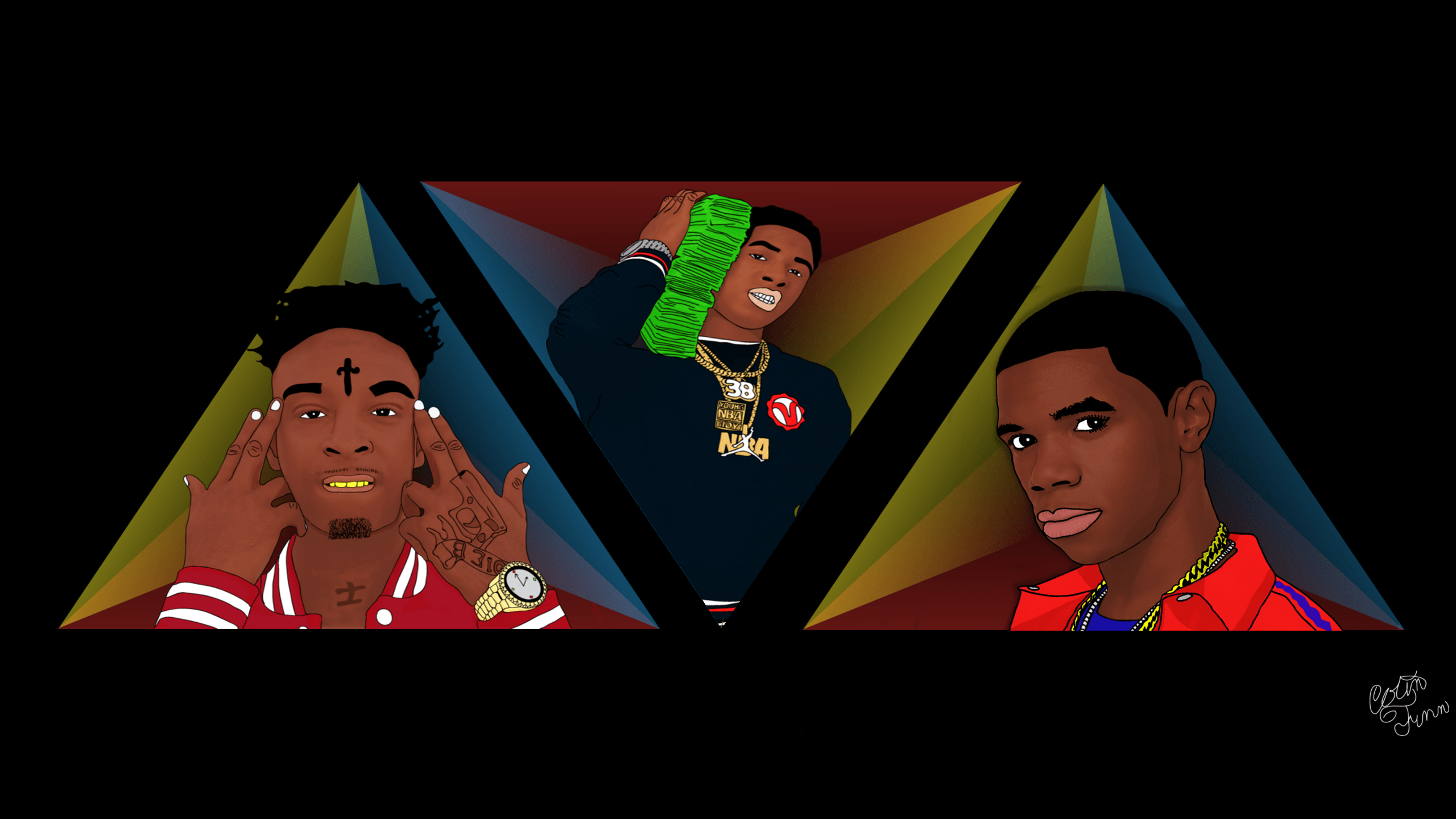 2560x1440 21 Savage, NBA YoungBoy and A Boogie Fan Art : HipHopImages