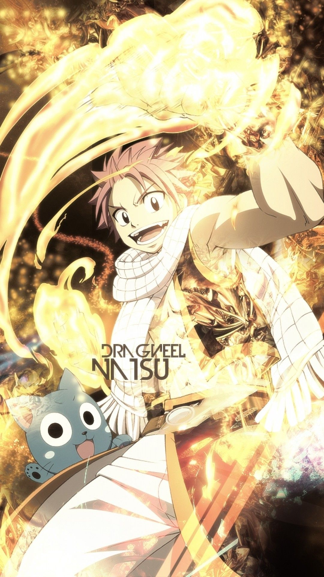 1080x1920 Download 1080x1920 Fairy Tail, Natsu Dragneel, Happy, Fire ...
