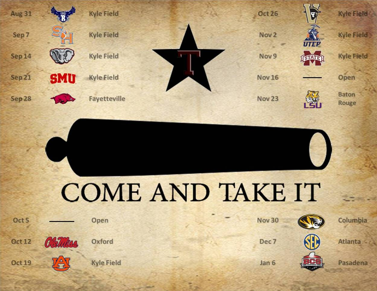 1249x965 COME AND TAKE IT - Schedule Wallpaper | TexAgs