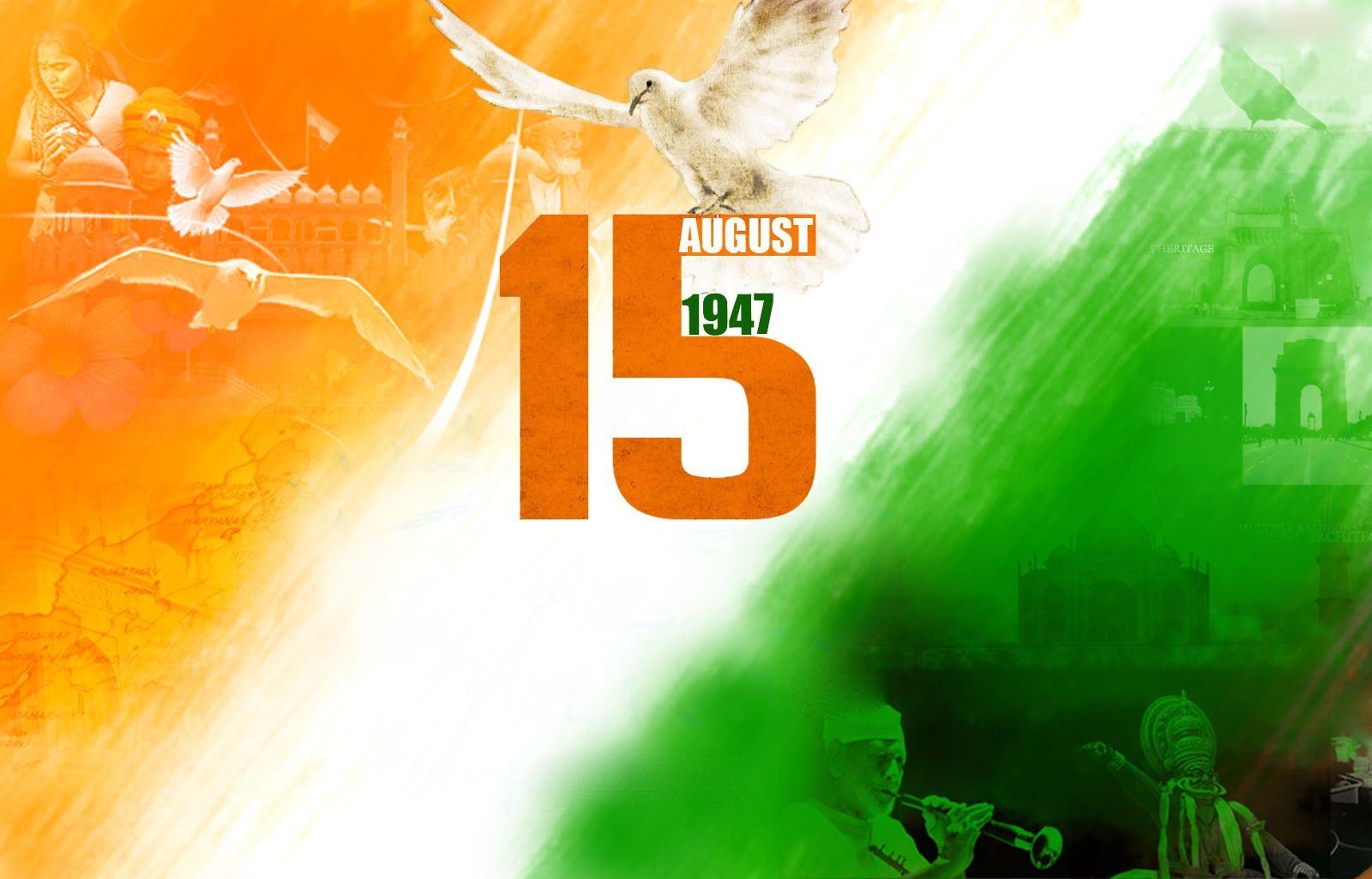1600x1024 Happy India Independence Day 15th August 1947 Wallpaper