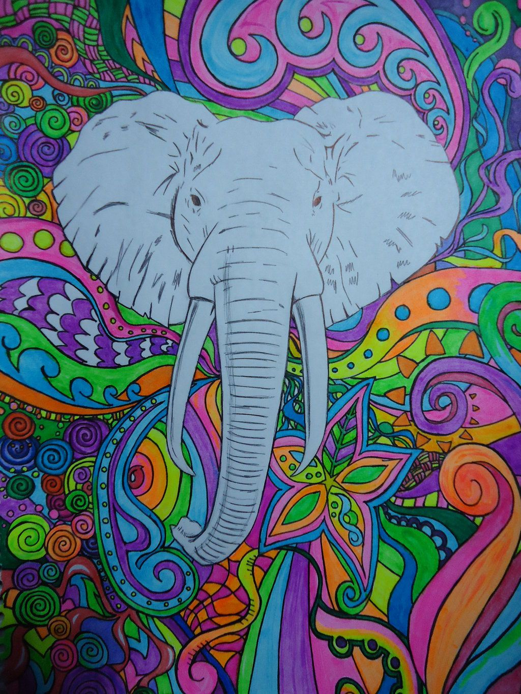 1024x1365 Trippy elephant wallpaper - animalcarecollege.info