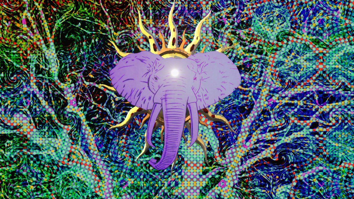 1191x670 Psychedelic Elephant by Nick-Spratt on DeviantArt