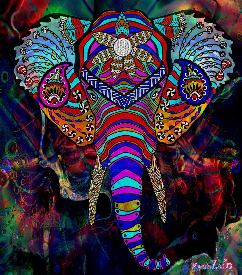 838x953 Psychedelic Elephant by MOSHzaic on DeviantArt