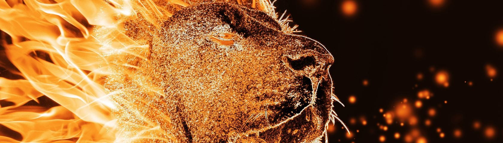 1680x480 Fire Lion • Images • WallpaperFusion by Binary Fortress Software