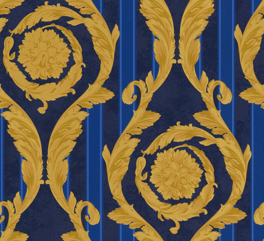 1000x914 Barocco & Stripes by Versace - Blue / Gold : Wallpaper Direct