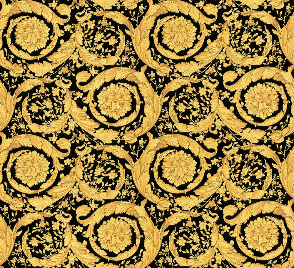 1000x910 Barocco Flowers by Versace - Black : Wallpaper Direct