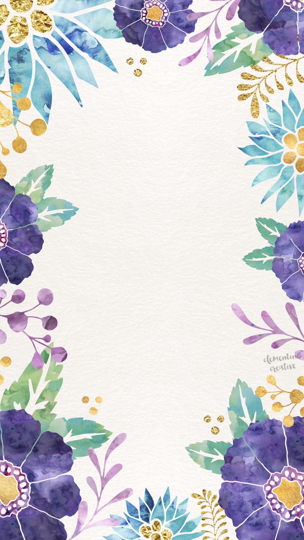 1242x2208 Watercolor floral blue purple yellow green | Phone ...
