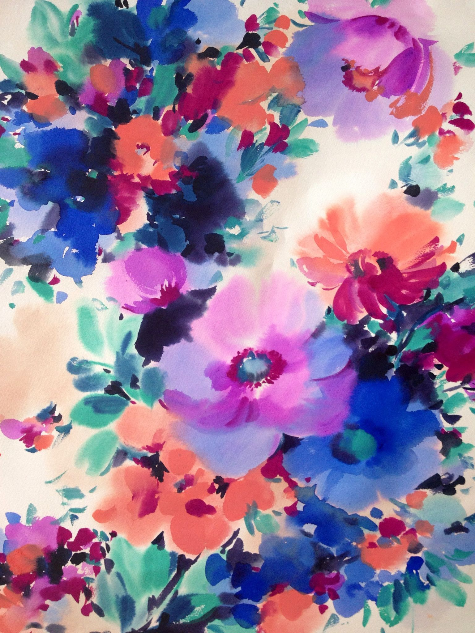 1536x2048 68+ Watercolor Flowers Wallpapers on WallpaperPlay