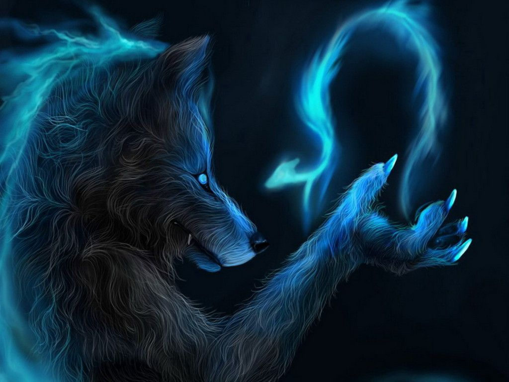 1024x768 Fire Wolf Wallpapers