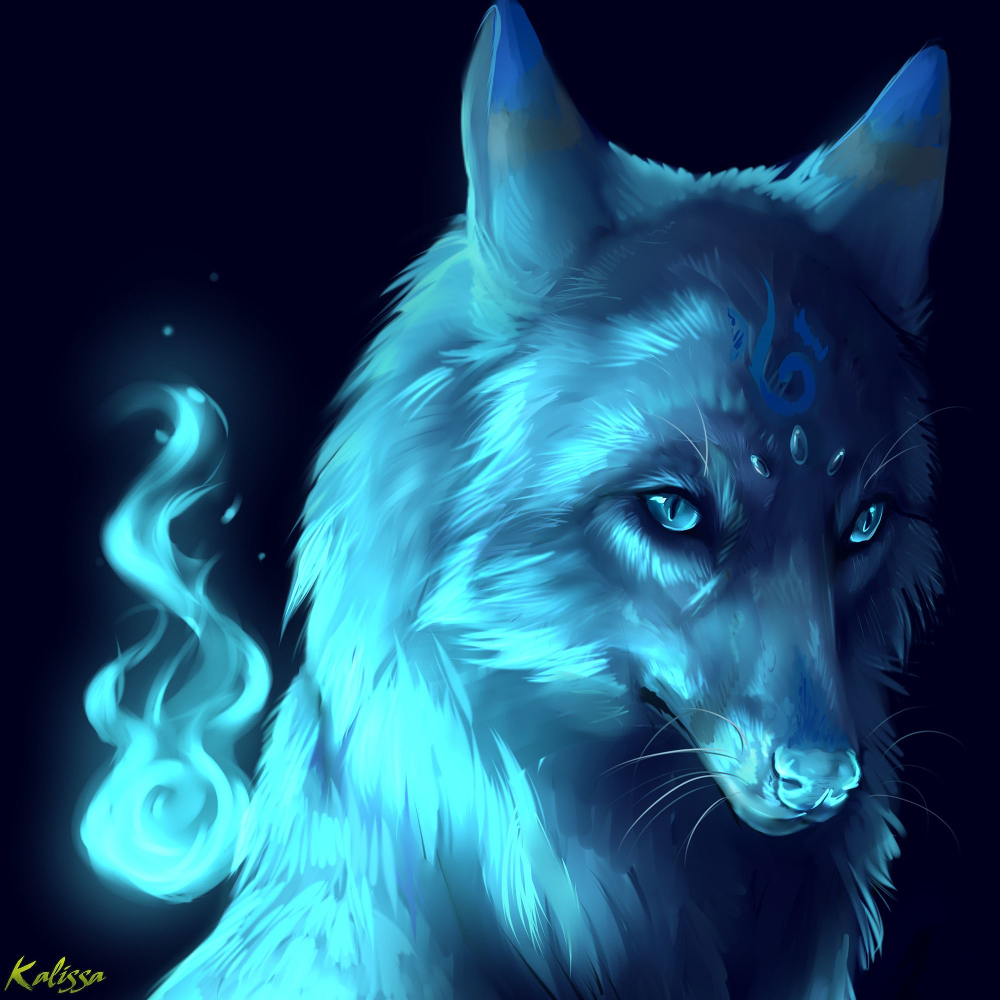 2000x2000 wolf, night, eyes, fantasy - wallpaper #90131 (2000x2000px) on ...