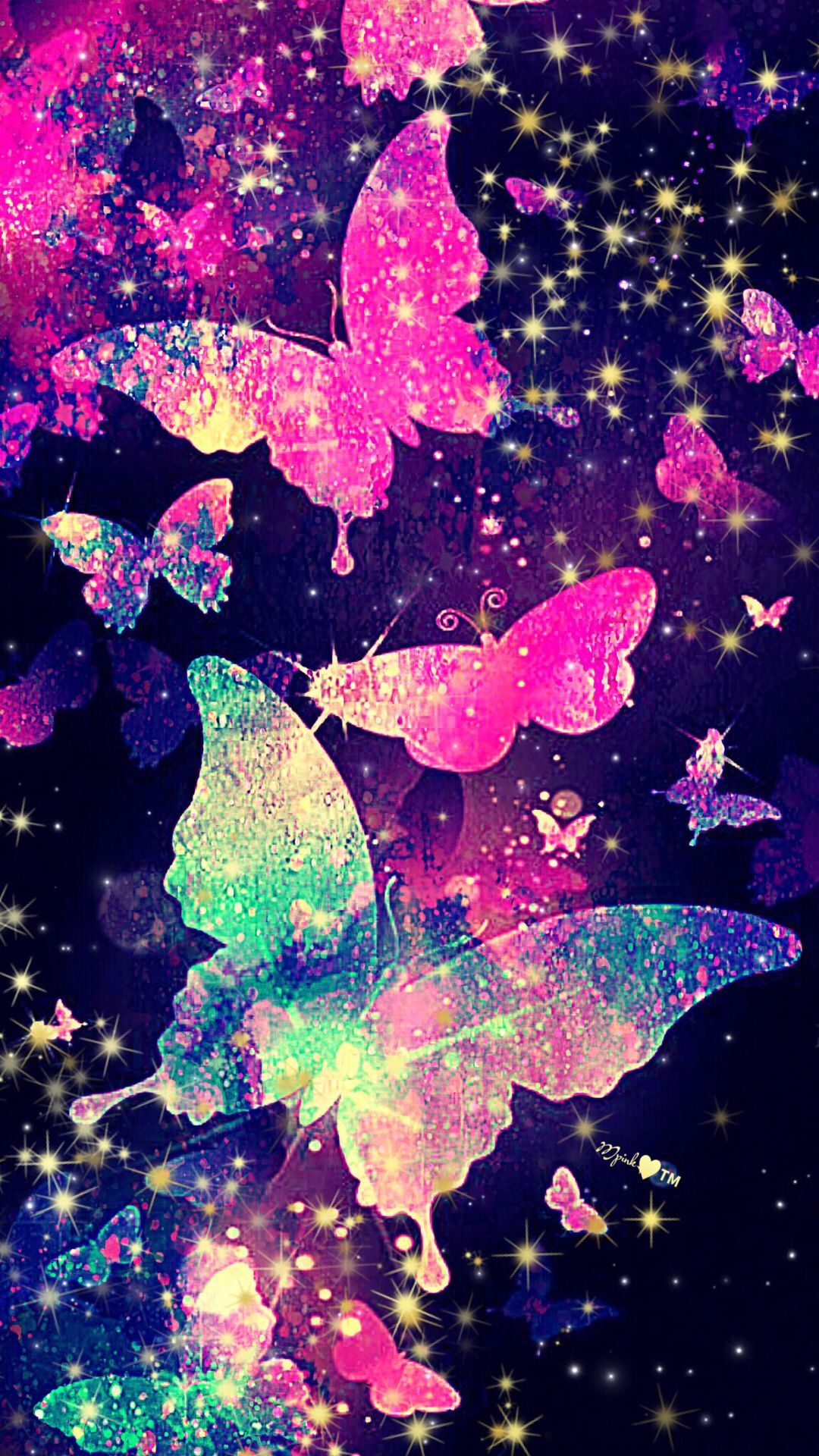 1080x1920 Glitter Butterfly Galaxy Wallpaper #androidwallpaper ...