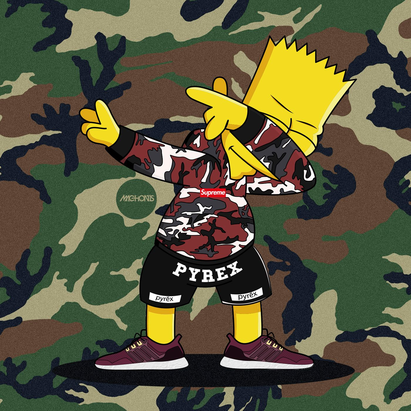 1400x1400 Dabbin' Bart Simpson ❌ Supreme ❌ Adidas Ultra Boost on Behance ...