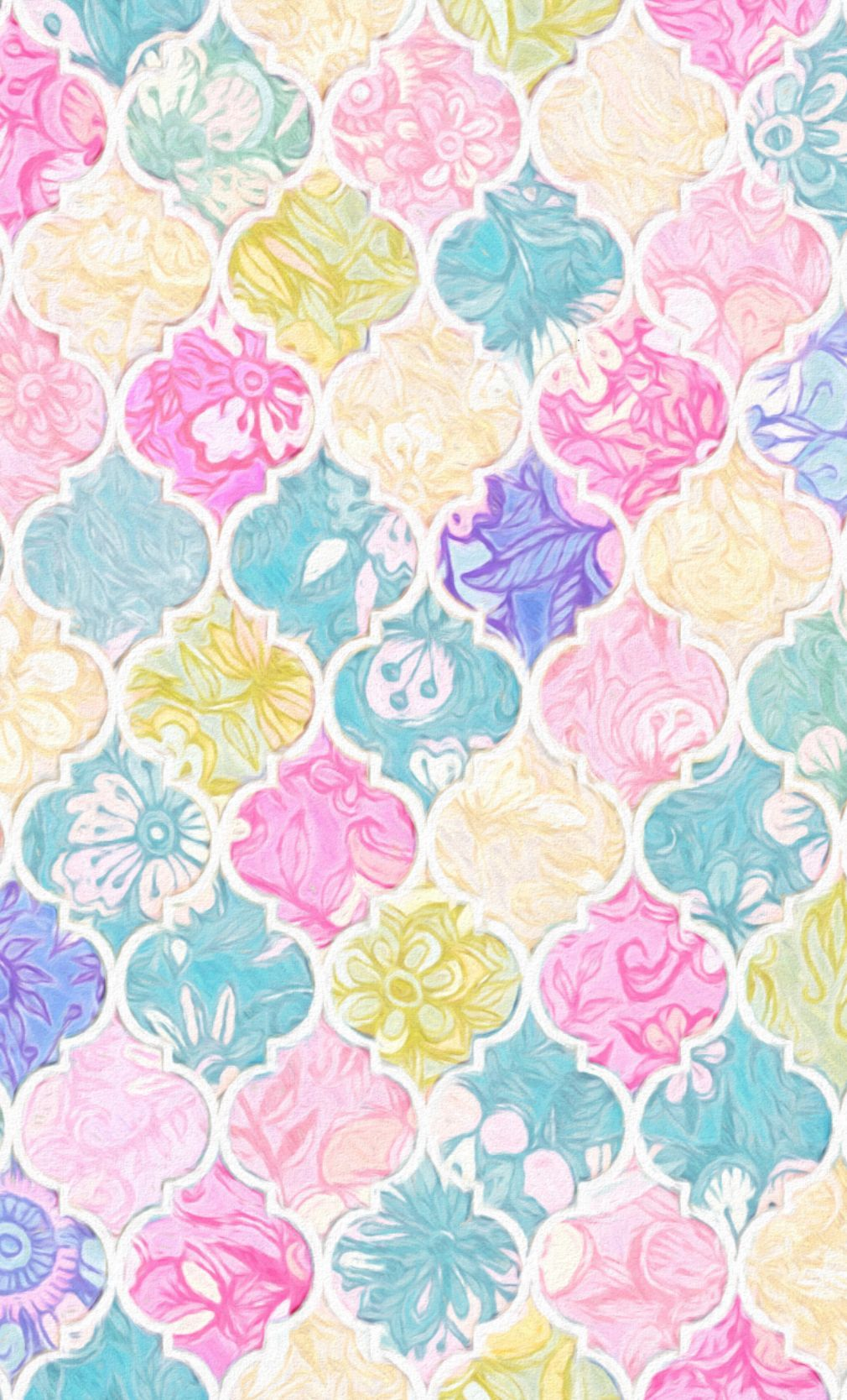 1010x1668 Soft Bright Pastel Floral Moroccan Tiles fabric by Micklyn on ...
