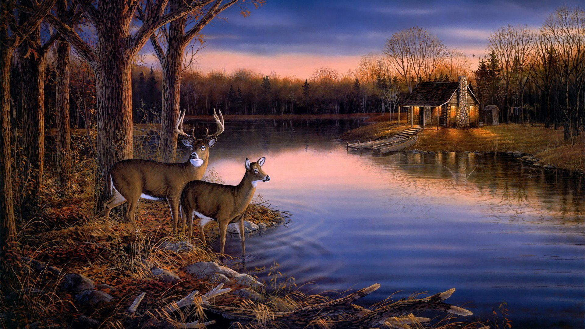 1920x1080 Whitetail Deer Scene painting | Painting,art widescreen,landscape ...