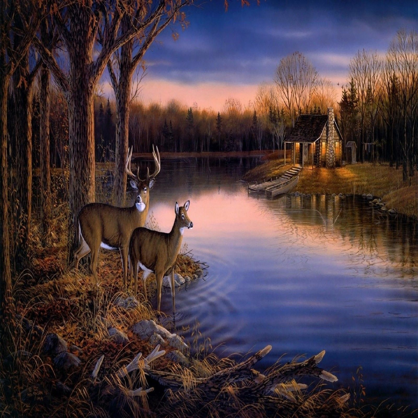 1600x1600 Cabin by the lake whitetail deer set of 4 coasters rubber with ...