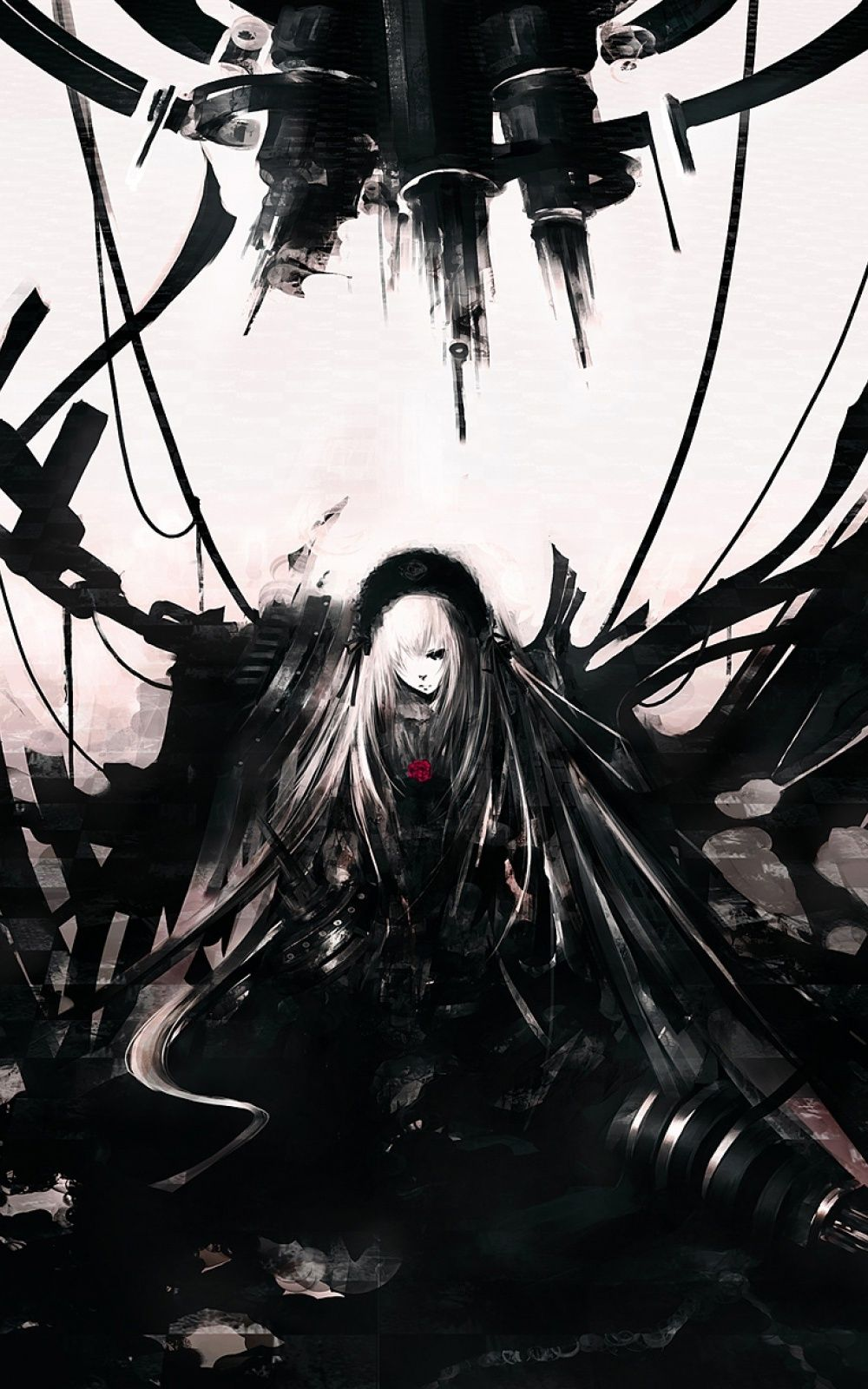 1000x1600 Dark Anime Woman Android Wallpaper free download