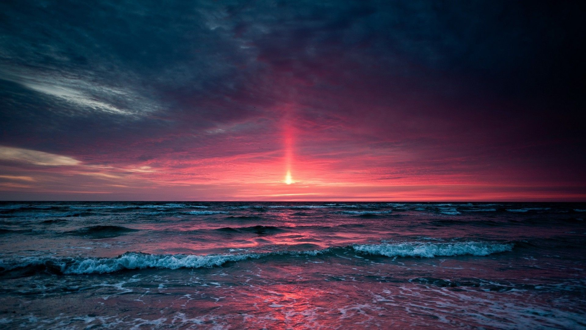 1920x1080 Purple Beach Sunset HD | Sunset Over Ocean | Places to Visit in 2019 ...