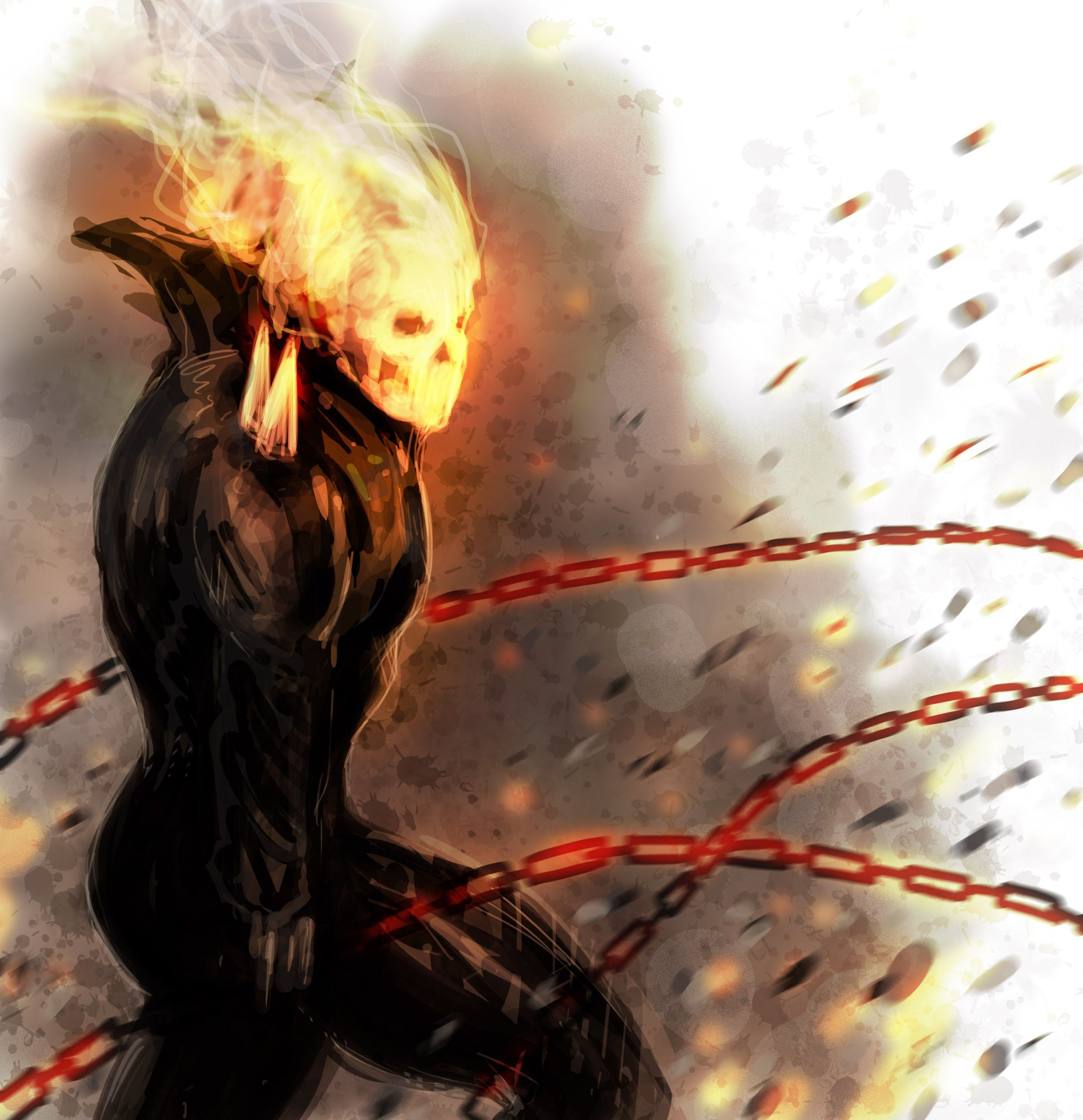 2631x2720 Comics fire ghost rider drawings chains traditional wallpaper ...