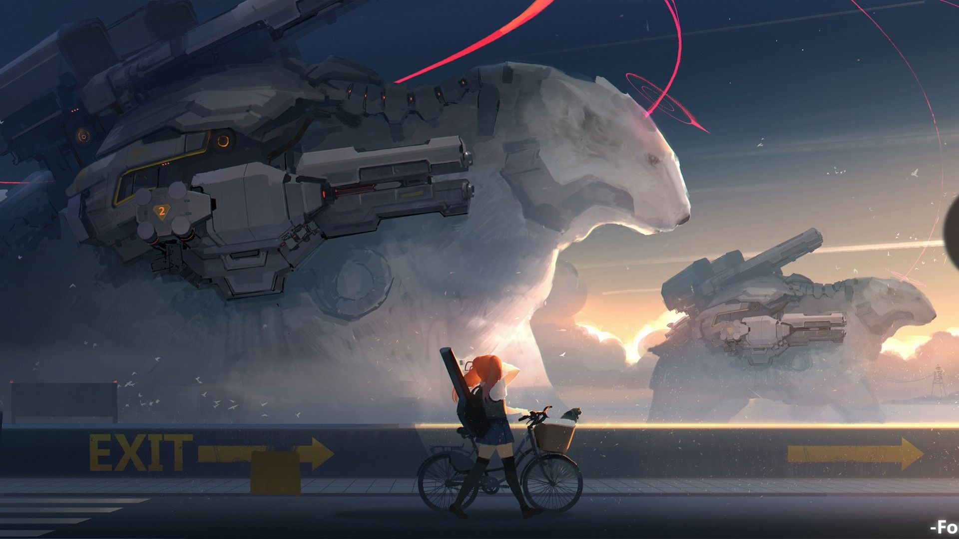 1920x1080 Download 1920x1080 Anime Girls, Sci-fi, Heavy Weapons, Bicycle ...