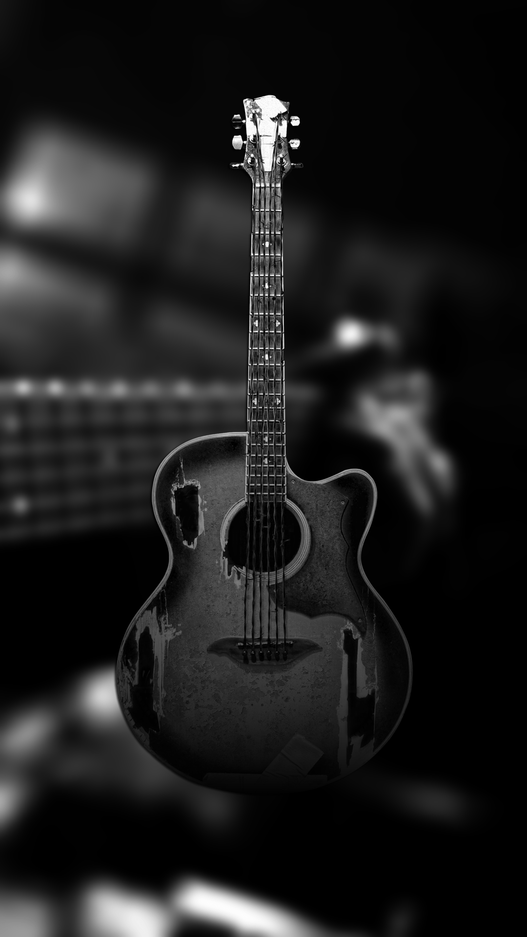 1080x1920 Ultra HD Black Guitar Wallpaper For Your Mobile Phone ...0035