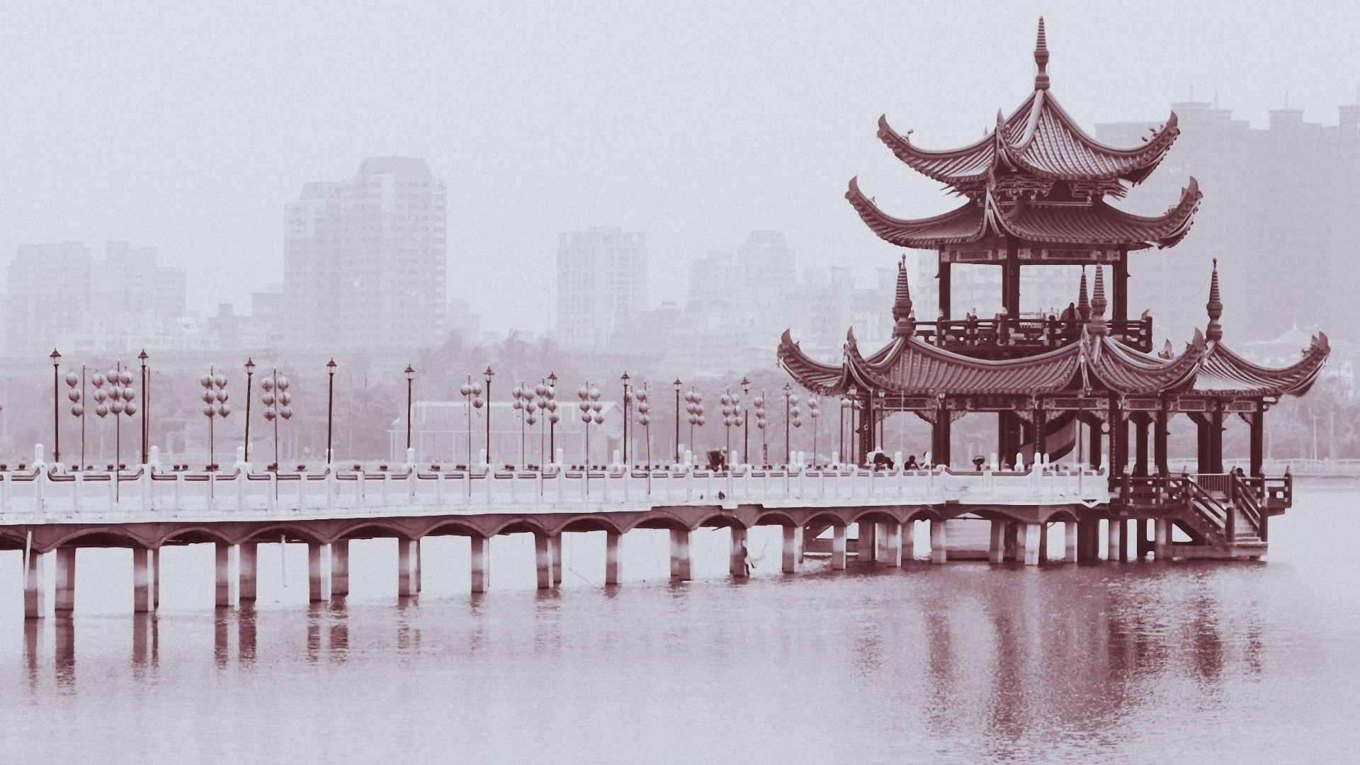 1920x1080 Chinese monochrome 1920x1080 wallpaper Design bridges buildings ...