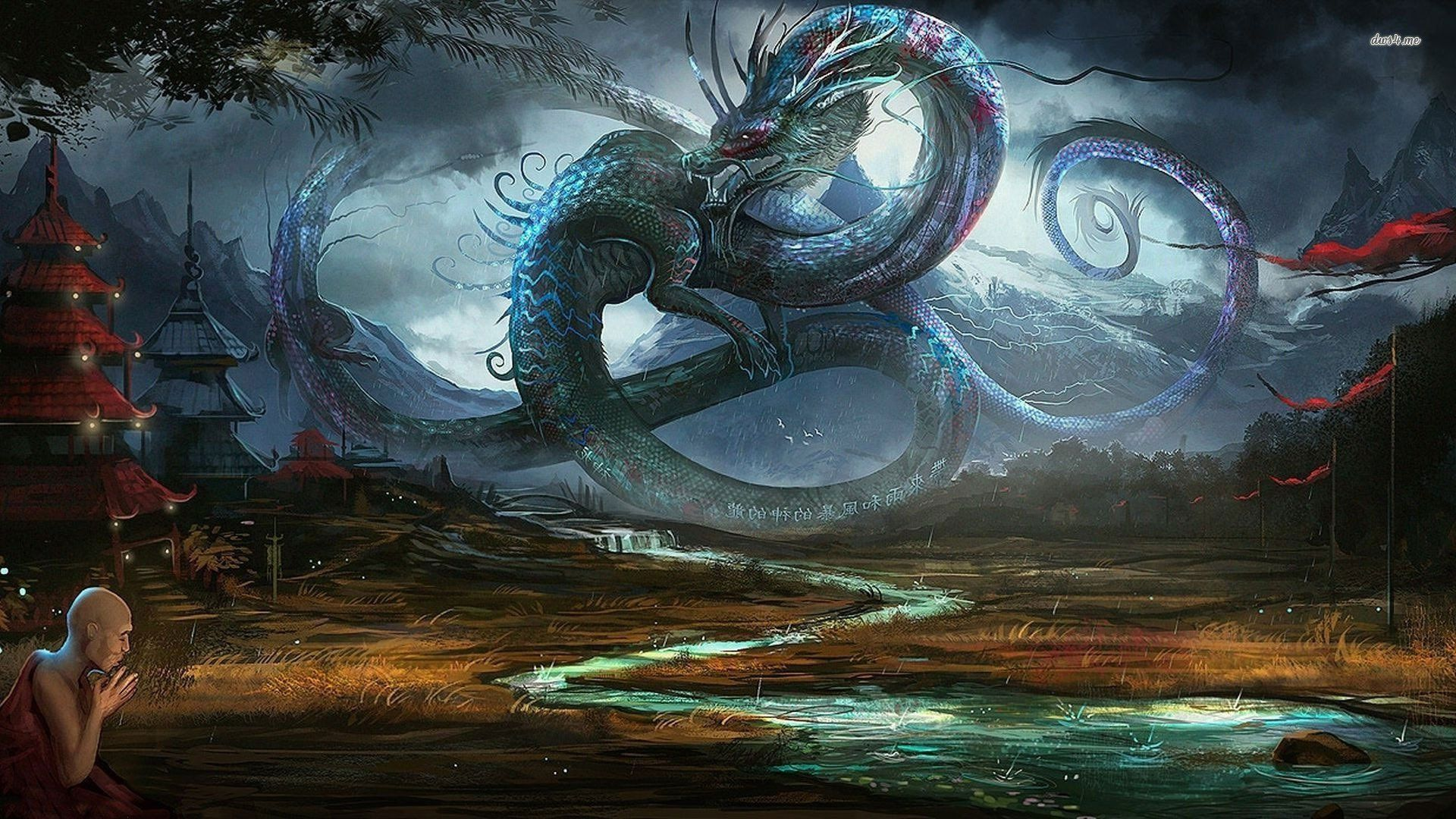 1920x1080 Dragon In Ancient Chinese Village - WallDevil