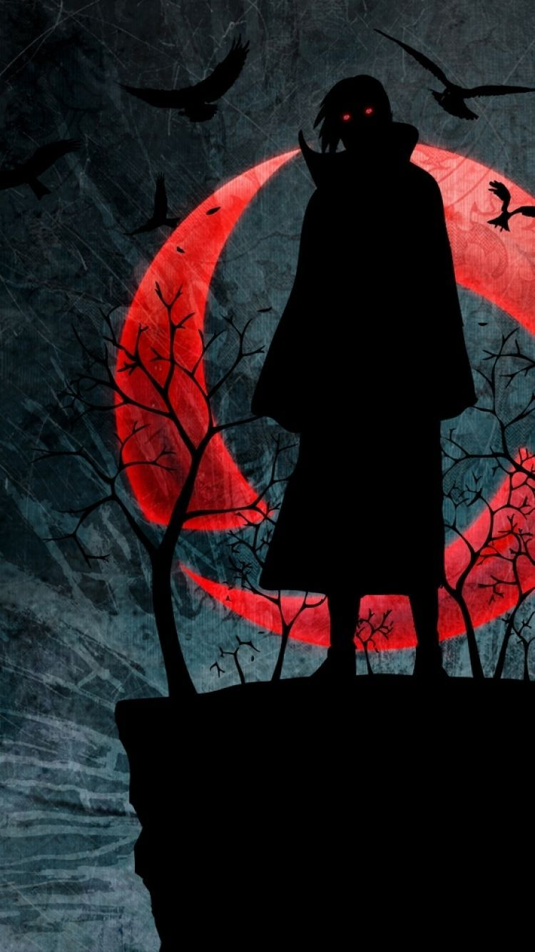 750x1334 750x1334 Wallpaper naruto, uchiha itachi, sharingan, figure, night ...